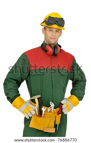 Construction worker isolated in white