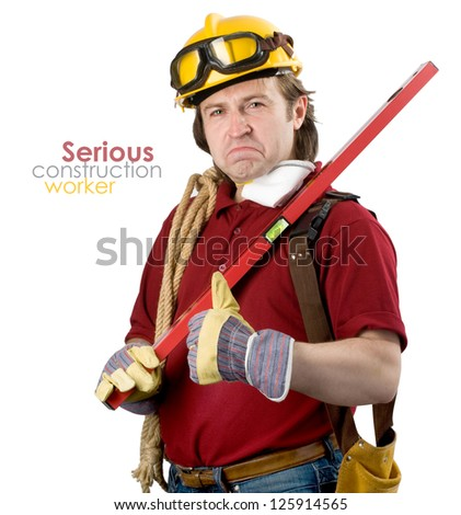 Construction worker.Isolated on white. - stock photo