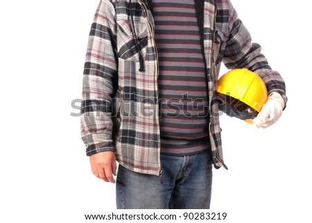 construction worker isolated on white - stock photo