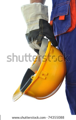 Construction worker isolated on white background - stock photo
