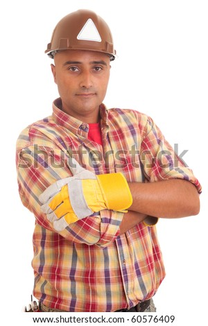 Construction worker, isolated over white background