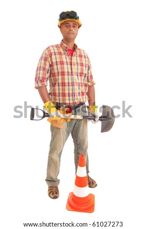 Construction worker, isolated over white background - stock photo