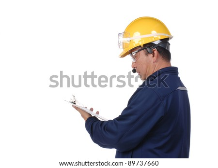 construction worker isolation on white in studio - stock photo