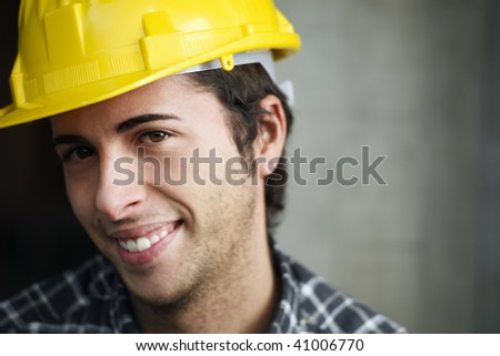 Construction worker looking at camera. Copy space