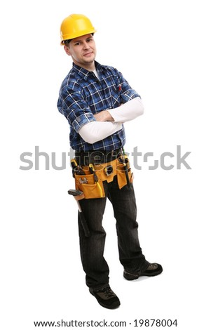 Construction worker looking friendly. ready to work. Isolated. - stock photo
