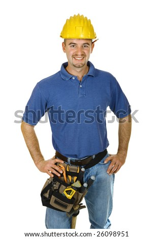 Construction worker looking friendlyisolated on white - stock photo