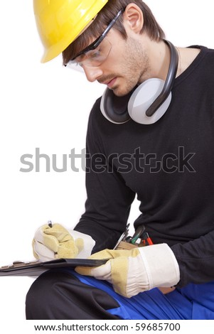 construction worker making notice on clipboard - isolated over white - stock photo