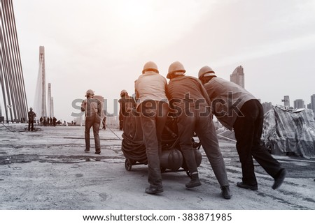 construction worker on construction site - stock photo