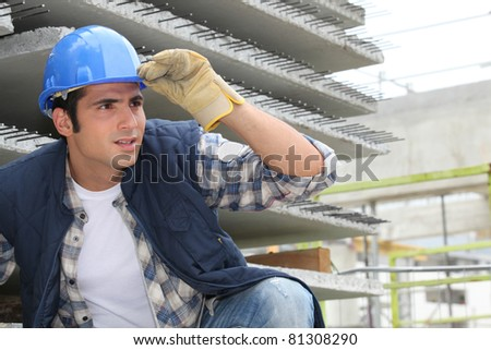 Construction worker on site - stock photo