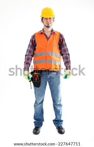 Construction Worker on the white background. Isolated on white