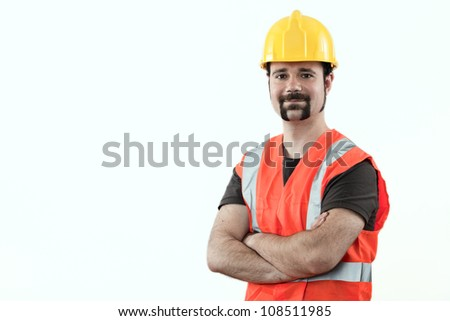 construction worker over white background - stock photo