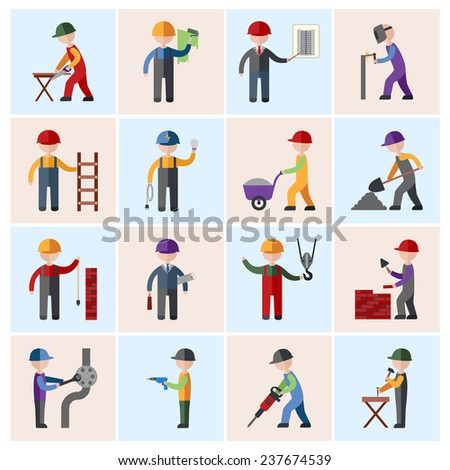 Construction worker people silhouettes icons flat set isolated  illustration - stock photo