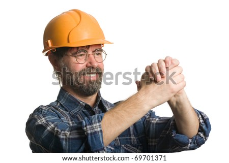 Construction worker put his hands in greeting. Isolated on white. - stock photo