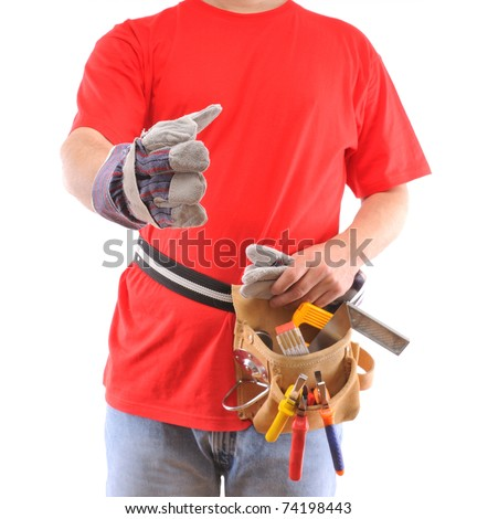 Construction worker s hand up for shake over white background - a series of MANUAL WORKER images. - stock photo