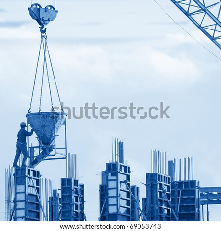 Construction worker silhouette - stock photo