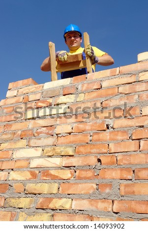Construction worker standing on wooden ladder resting on brick wall