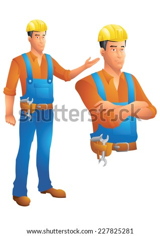 Construction worker standing presenting and bust with arms crossed - stock photo