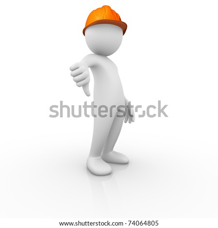 Construction worker thumb down signal