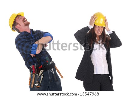construction worker tittering and angry businesswoman on white background