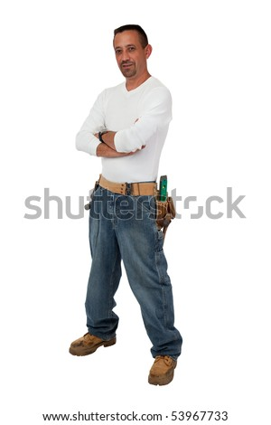 Construction Worker waiting - stock photo