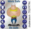Construction worker wearing personal protection equipment and safety icons - stock photo