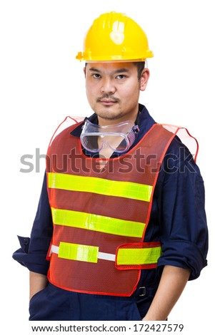 Construction worker wearing safety helmet
