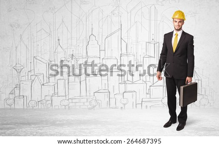 Construction worker with cityscape background drawing - stock photo