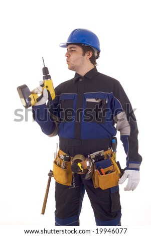 Construction worker with drill and with oder tools. Also nice outfit.