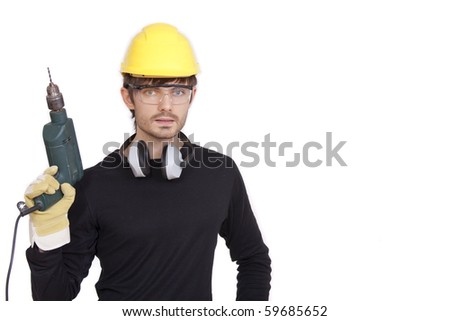 construction worker with drill - isolated on white background