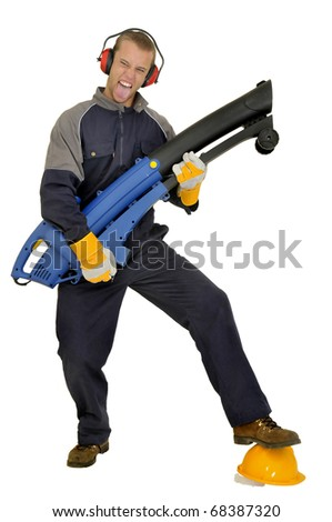Construction worker with exhauster isolated in white - stock photo