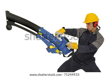 Construction worker with exhauster isolated in white