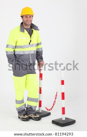 construction worker with helmet - stock photo