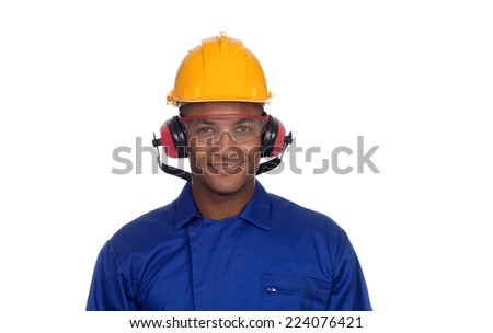 Construction worker with helmet and glasses isolated on a white background - stock photo