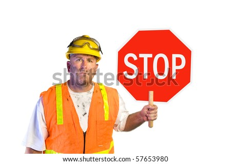 Construction worker with stop sign isolated on white