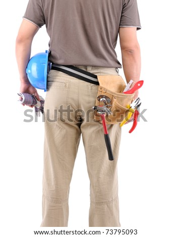 Construction worker with tool belt over white background - a series of MANUAL WORKER images.