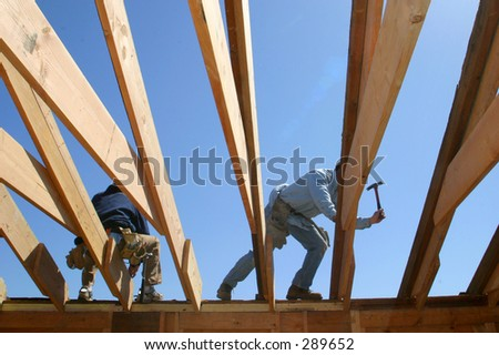 Construction workers. - stock photo
