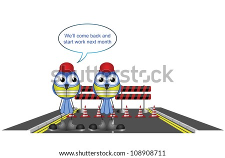 Construction workers closing a road early isolated on white background - stock photo