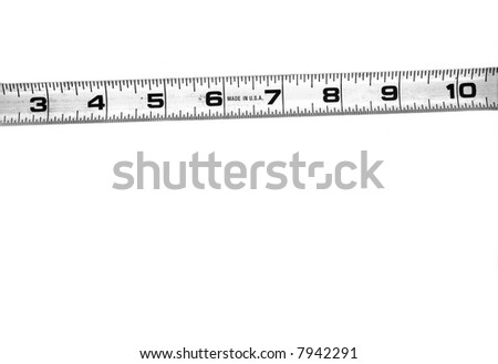 construction workers dirty tape measure ruler, isolated on white background