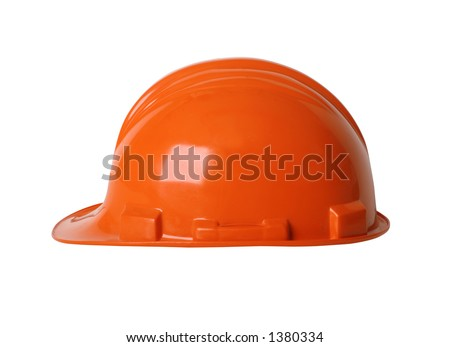 Construction workers hard hat isolated on white with clipping path - stock photo
