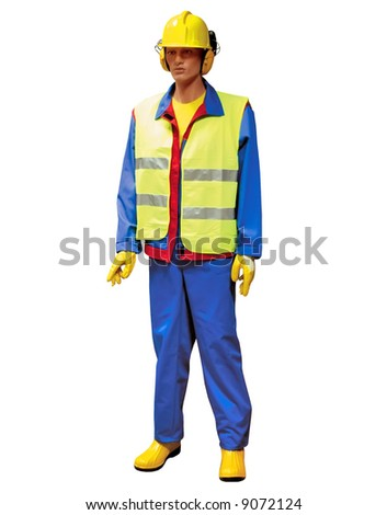 Construction workers hard protection isolated - stock photo