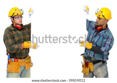 Construction workers isolated in white - stock photo