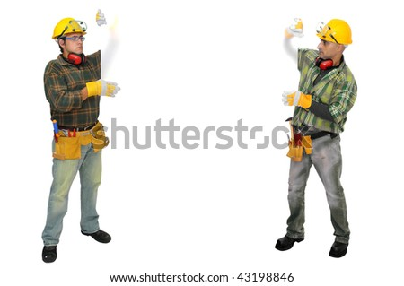 Construction workers isolated in white