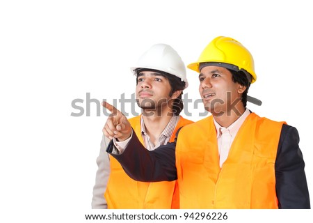 construction workers isolated on white - stock photo