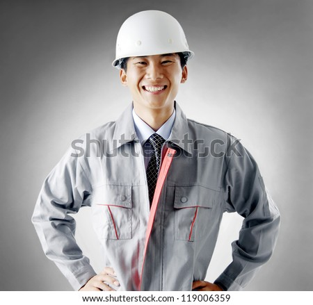 Construction workers portrait - stock photo