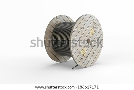 Construction wrapped rope isolated on white background - stock photo