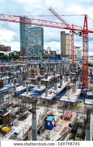 Construction yard in a modern city - stock photo