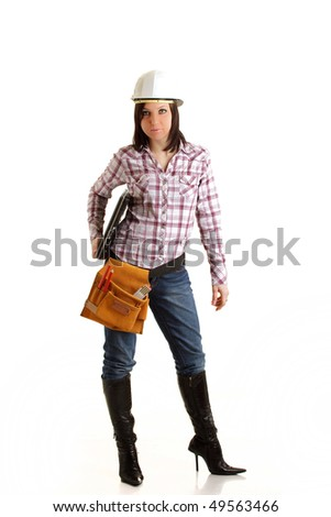 Constructor Girl with notebook isolated
