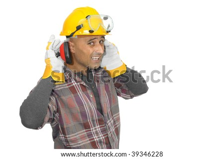 Constructor worker isolated in white