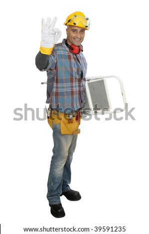 Constructor worker with ladder isolated in white - stock photo