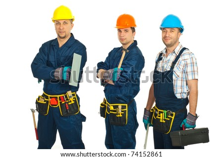 Constructor workers men team standing in a row isolated on white background - stock photo